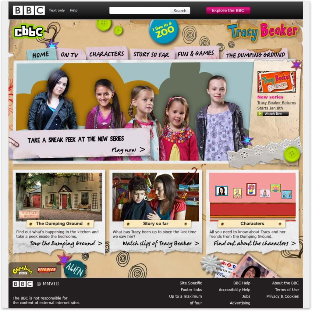 Tracy Beaker Homepage