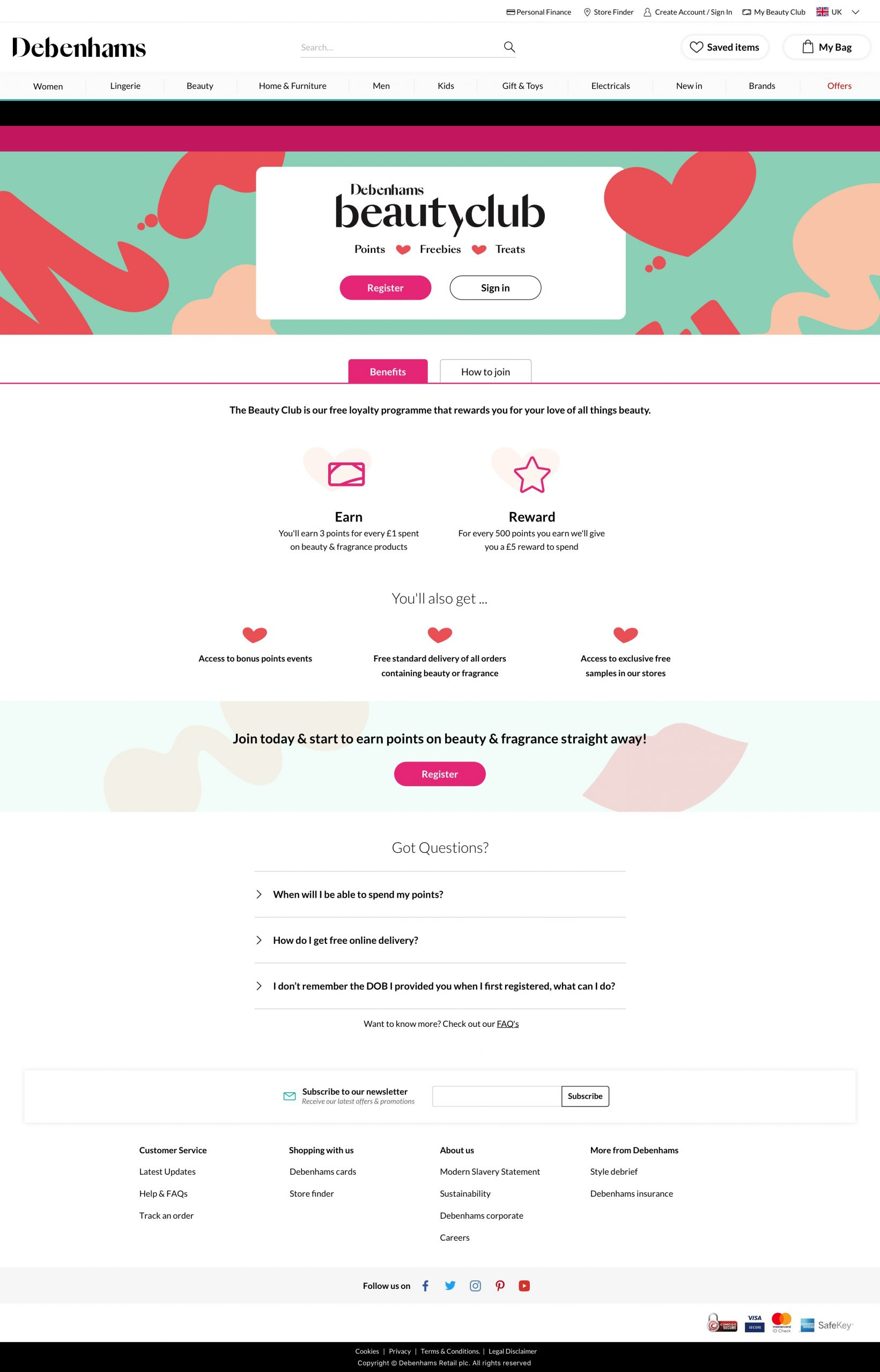 Beauty Club Landing Page